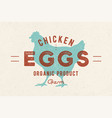 chicken eggs vintage hand drawn logo vector image vector image