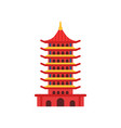 chinese pagoda building cartoon multi-tiered vector image vector image