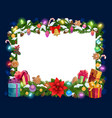 christmas decorations frame blank paper template vector image vector image