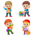 collection of young man holding grocery shopping vector image vector image