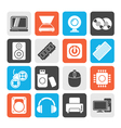 Computer Parts and Devices icons vector image vector image