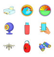 cordless technology icons set cartoon style vector image