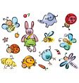 cute animals and insects vector image vector image