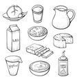 dairy farm products hand drawn vector image