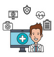 doctor with computer medical technology design vector image vector image