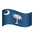 flag of south carolina waving on white background vector image vector image