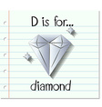 Flashcard letter D is for diamond vector image