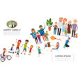 flat big family colorful concept vector image