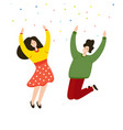 friends jumping joy together feelings of vector image vector image
