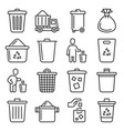 garbage icons set on white background line style vector image vector image