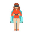girl sitting in an armchair and plays vector image