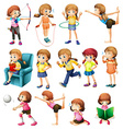 Girls doing different activities vector image vector image