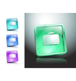 glass icons set briefcase Bag green vector image vector image