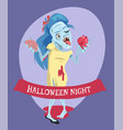 halloween night lady zombie vector image vector image