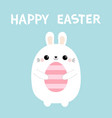 happy easter bunny rabbit holding pink painting vector image vector image
