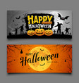 happy halloween party banners horizontal set vector image vector image