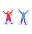 happy woman and man making snow angels winter vector image