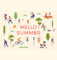 hello summer banner poster or card template vector image vector image
