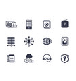 hosting servers network data storage icons vector image vector image