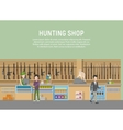 hunting shop interior with rifle and gun weapon vector image vector image