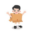 kid playing cardboard isolated on white background vector image