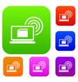 laptop and and wireless set collection vector image vector image