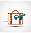logo airplane is flying around the suitcase vector image vector image
