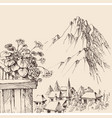 mountain village view from balcony alpine vector image vector image