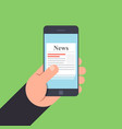 news on mobile phone in hand vector image vector image