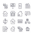 outline web icons set - real estate icon set with vector image vector image
