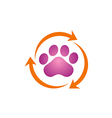 pet dog foot clean logo vector image vector image