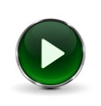 play button green 3d icon with shadow isolated vector image