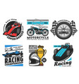 racing and motorsport icons motorcycle car rally vector image vector image