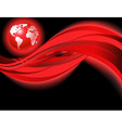 red business world map wave vector image vector image