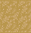 retro leaves lineart seamless pattern hand drawn vector image vector image