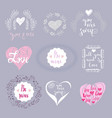set of love elements vector image vector image