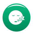 sleep smile icon green vector image