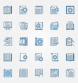 technical documentation blue icons set vector image