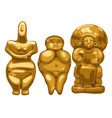 the collection of ancient statues depicting women vector image vector image