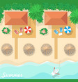 top view on resort bungalows beach vector image