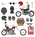 two motorcyclist with accessories set helmets vector image vector image