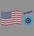 usa flag collage cogwheel and distress my vector image vector image