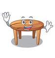 waving cartoon round wooden table in cafe vector image vector image