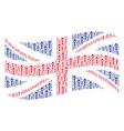waving great britain flag mosaic of abstract man vector image vector image