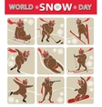 world snow daybear plays winter sporticon set vector image