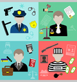 law and justice flat style icons vector image