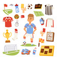 soccer player man icons vector image