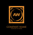 aw letter initial with royal luxury logo template vector image vector image
