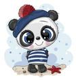 bacartoon panda in sailor costume vector image vector image