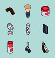 barber shop outline isometric set vector image